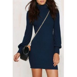 Blue Turtleneck Long Sleeve Bodycon Knitted Dress